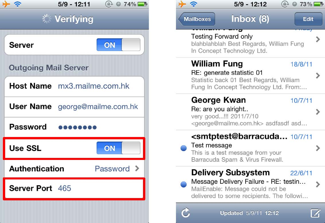 how to setup live email on iphone